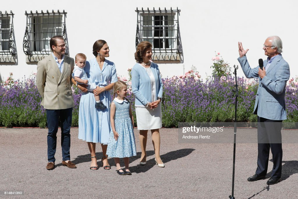 Prince Oscar of Sweden, Prince Daniel of Sweden, Princess Estelle of Sweden, Crown Princess Victoria of Sweden, Queen Silvia of Sweden and King Carl Gustaf of Sweden are seen meeting the people gathered in front of Solliden Palace to celebrate the 40th birthday of Crown Princess Victoria of Sweden on July 15, 2017 in Borgholm, Sweden.