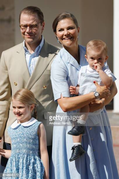 Prince Oscar of Sweden, Prince Daniel of Sweden, Princess Estelle of Sweden and Crown Princess Victoria of Sweden are seen meeting the people...
