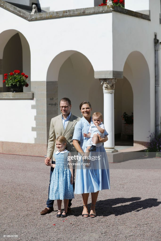 Prince Oscar of Sweden, Prince Daniel of Sweden, Princess Estelle of Sweden and Crown Princess Victoria of Sweden are seen meeting the people gathered in front of Solliden Palace to celebrate the 40th birthday of Crown Princess Victoria of Sweden on July 15, 2017 in Borgholm, Sweden.