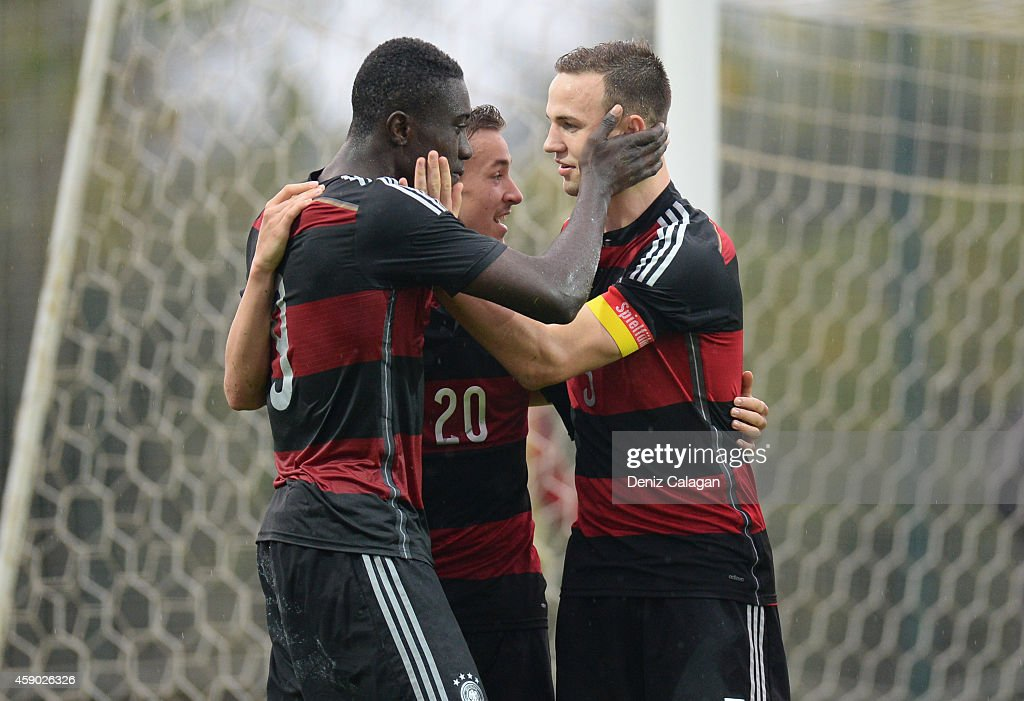 Prince Osei Owusu, David Sauerland and Benedikt Gimber of Germany celebrating the third goal for their team during the international friendly match between U18 Germany and U18 Czech Republic on November 15, 2014 in Side, Turkey.