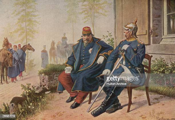 Prince Otto von Bismarck Chancellor of Germany meeting with the defeated and captured French Emperor Louis Napoleon III after the surrender of the...