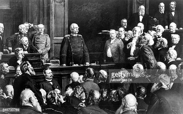 Prince Otto von Bismarck speaking in the Reichstag about the military budget February 06 1888