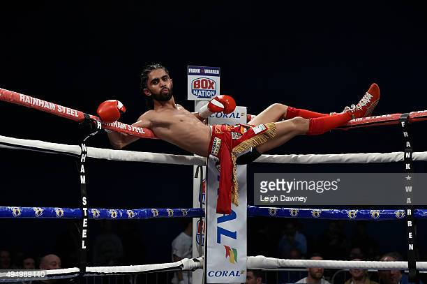 Prince Patel shows off to the crowd during his bout against David Koos in a Flyweight contest at Harrow Leisure Centre on October 30 2015 in Harrow...