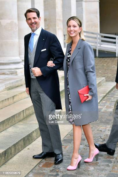 Prince Paul de Grece and his daughter Princess Olympia de Grece attend the Wedding of Prince Jean-Christophe Napoleon and Olympia Von Arco-Zinneberg...