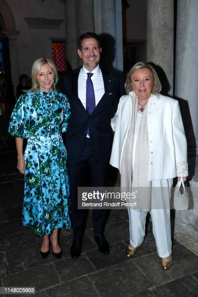 Prince Paul de Grece standing between wife Princess Marie-Chantal de Grece and Maryvonne Pinault attend the 58th International Art Biennale in Venice...