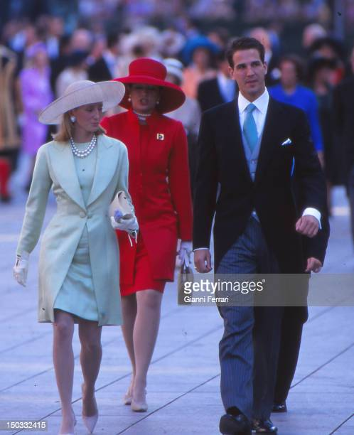 Prince Paul of Greece with his wife Marie Chantal at the wedding of the Infanta Cristina daughter of the Spanish Kings Juan Carlos and Sofia 04th...