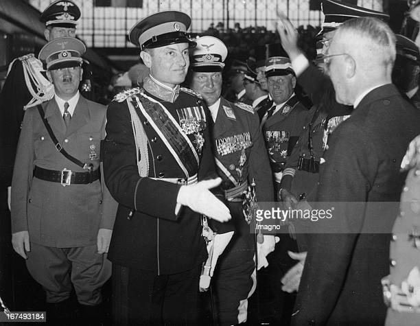 Prince Paul of Yugoslavia when he arrived in Berlin / Lehrter station. Reception by Minister Johannes Popitz and Adolf Hitler and Hermann Goering....