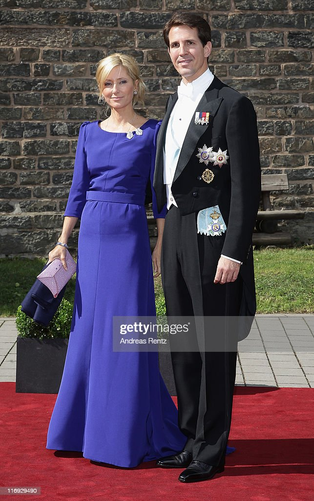 Prince Pavlos and crown Princess Marie-Chantal of Greece arrive for the wedding of Princess Nathalie zu Sayn-Wittgenstein-Berleburg and Alexander Johannsmann at the evangelic Stadtkirche on June 18, 2011 in Bad Berleburg, Germany.