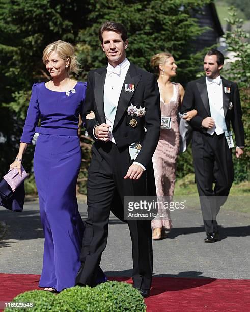 Prince Pavlos and crown Princess MarieChantal of Greece arrive for the wedding of Princess Nathalie zu SaynWittgensteinBerleburg and Alexander...