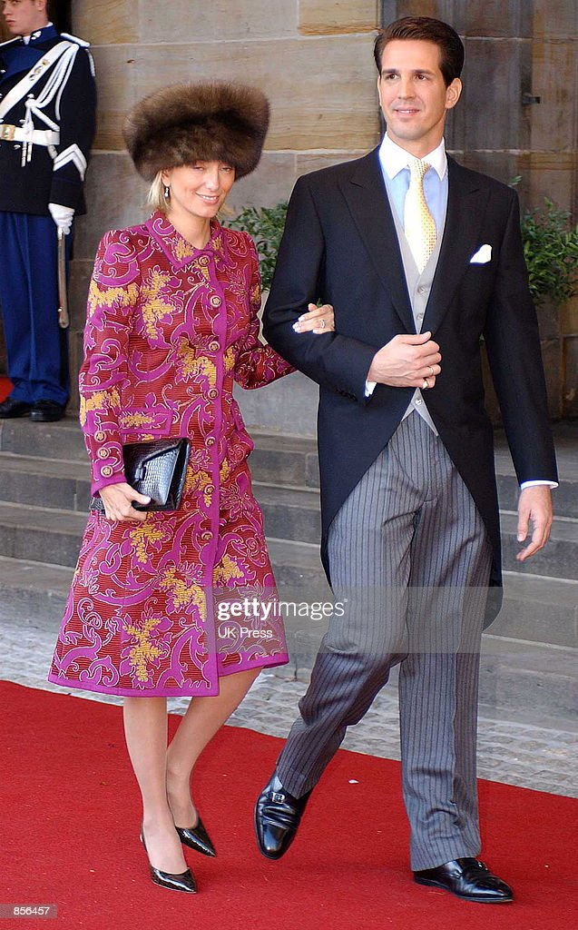 Prince Pavlos and Marie Chantal arrive for the wedding of Dutch Crown Prince Willem Alexander and Crown Princess Maxima Zorreguieta February 2, 2002 in Amsterdam, Holland.