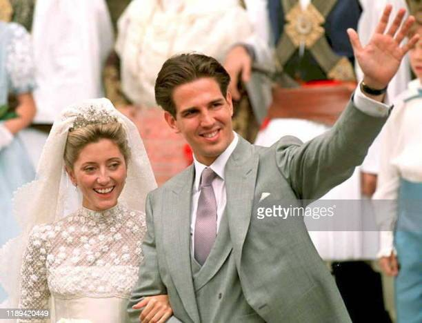 Prince Pavlos, , heir to the Greek throne in exile, and his bride Marie-Chantal Miller, daughter of American-born businessman Robert W. Miller, wave...