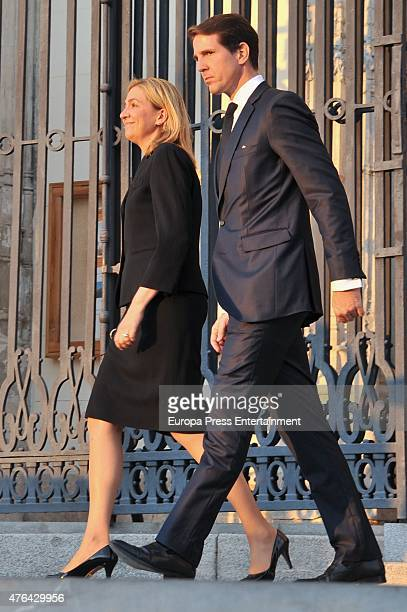 Prince Pavlos of Greece, and Princess Cristina of Spain attend the memorial service for Prince Kardam of Bulgaria at San Jeronimo el Real church on...