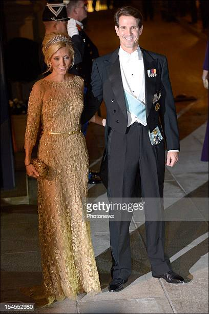Prince Pavlos of Greece and Princess Marie-Chantal of Greece arrive at the Gala Dinner for the wedding of Prince Guillaume Of Luxembourg and...