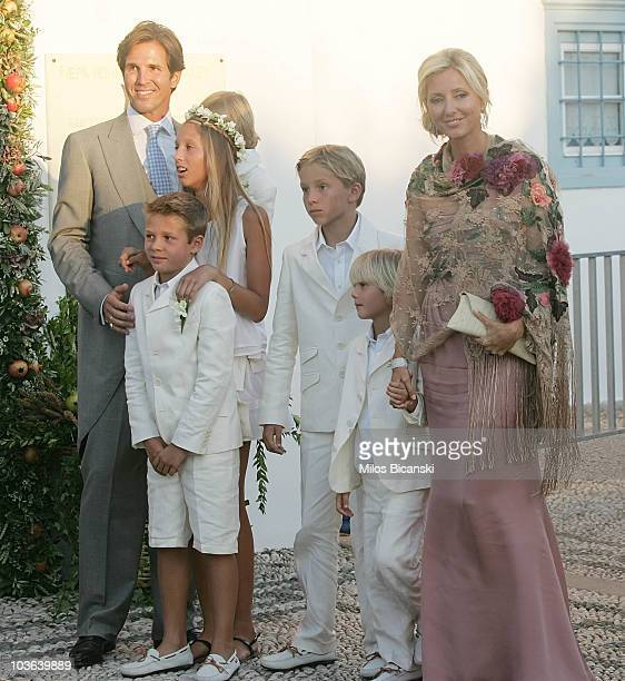 Prince Pavlos of Greece AristidisStavros AchileasAndreas Maria Olympia and Princess MarieChantal Miller arrive for the wedding of Prince Nikolaos and...