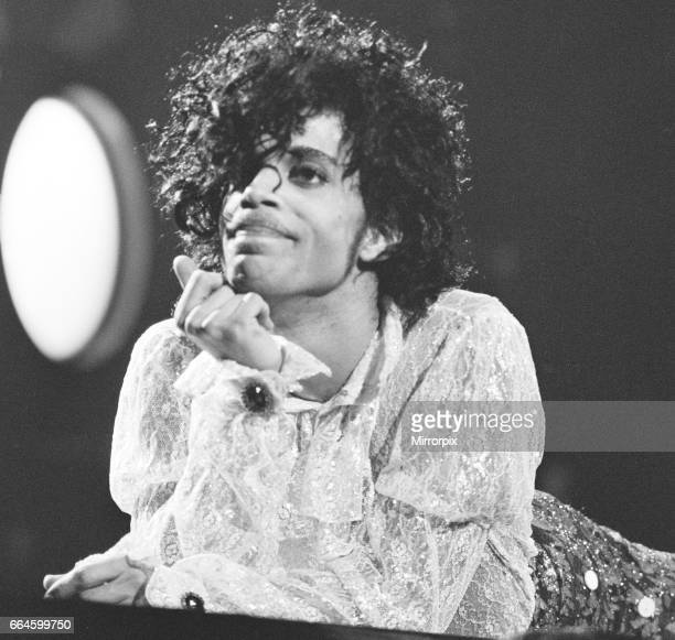 Prince performing on stage at the Joe Louis Arena Chicago 11th November 1984 The Purple Rain Tour
