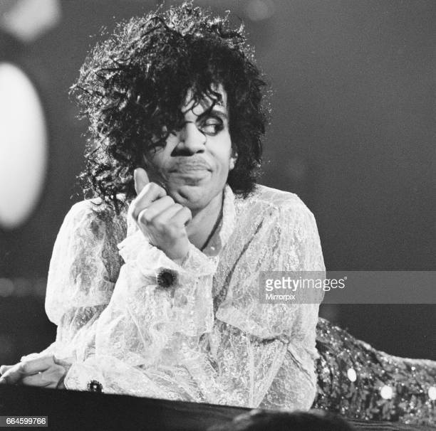 Prince performing on stage at the Joe Louis Arena, Chicago 11th November 1984. The Purple Rain Tour.