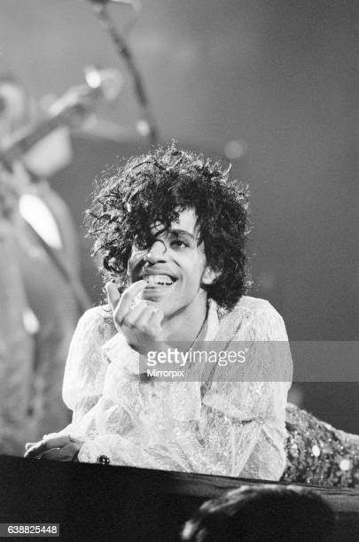 Prince performing on stage at the Joe Louis Arena, Chicago, USA, 11th November 1984. The Purple Rain Tour.