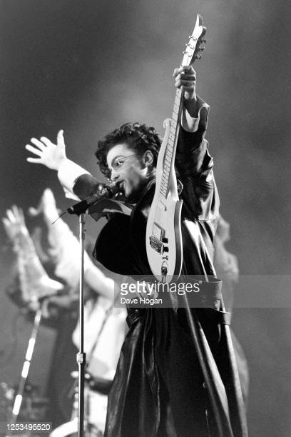 Prince performing on stage at Wembley Stadium, London, August 13th 1986.