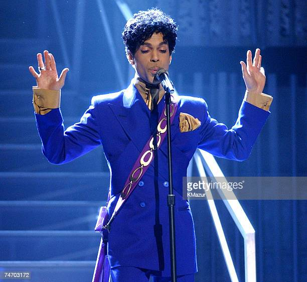 Prince performs a medley of his hits at the Staples Center in Los Angeles California
