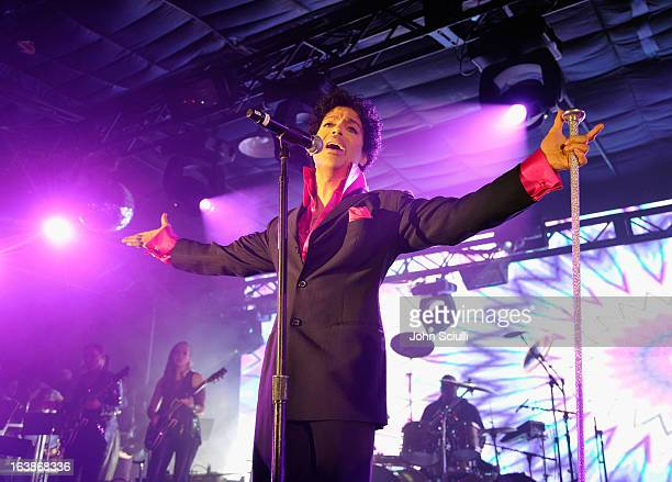 Prince performs as Samsung Galaxy presents Prince and A Tribe Called Quest at SXSW on March 16 2013 in Austin Texas