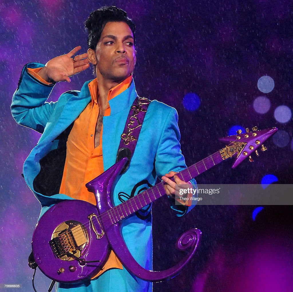 Prince performs at half time during Super Bowl XLI between the Indianapolis Colts and Chicago Bears at Dolphins Stadium in Miami, Florida on February 4, 2007.