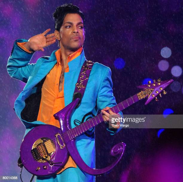 Prince performs at half time during Super Bowl XLI between the Indianapolis Colts and Chicago Bears at Dolphins Stadium in Miami Florida on February...
