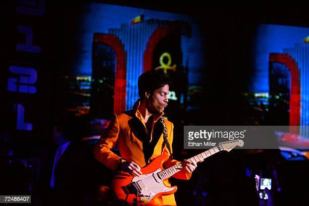 Prince performs at the unveiling of his 3121 live entertainment venue at the Rio Hotel Casino November 8 2006 in Las Vegas Nevada Prince will...