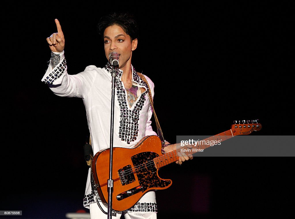 Prince performs during day 2 of the Coachella Valley Music And Arts Festival held at the Empire Polo Field on April 26, 2008 in Indio, California.
