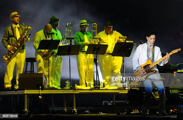 Prince performs during day 2 of the Coachella Valley Music and Arts Festival held at the Empire Polo Field on April 26 2008 in Indio California