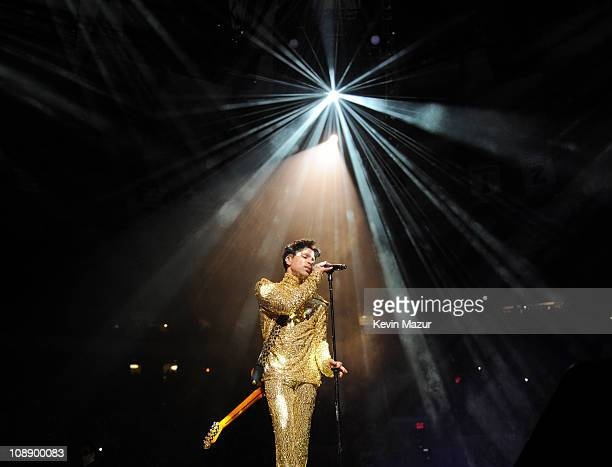 Prince performs during his 'Welcome 2 America' tour at Madison Square Garden on February 7 2011 in New York City