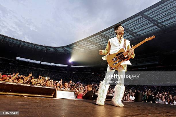 Prince performs during his Welcome 2 Europe tour at Stade de France on June 30 2011 in Paris France