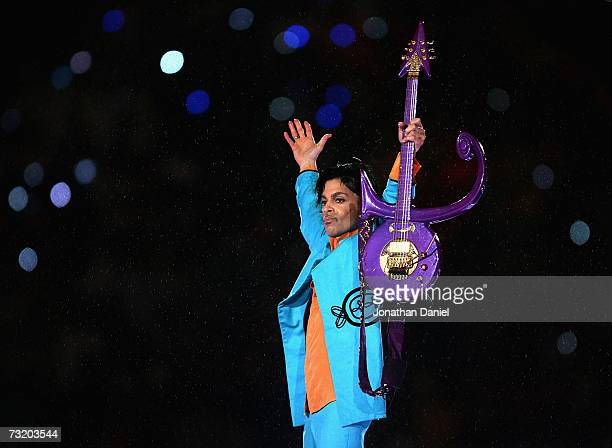 "Prince performs during the ""Pepsi Halftime Show"" at Super Bowl XLI between the Indianapolis Colts and the Chicago Bears on February 4, 2007 at..."