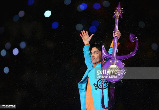 Prince performs during the Pepsi Halftime Show at Super Bowl XLI between the Indianapolis Colts and the Chicago Bears on February 4 2007 at Dolphin...