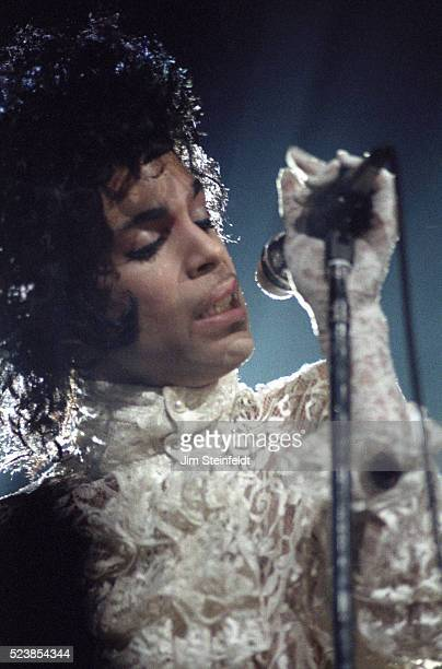 Prince performs during the Purple Rain Tour at the St Paul Civic Center Arena in St Paul Minnesota on December 26 1984