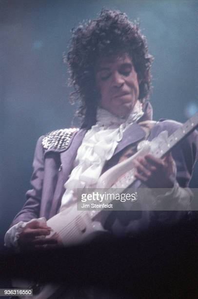 Prince performs during the Purple Rain Tour at the St Paul Civic Center in St Paul Minnesota on December 26 1984