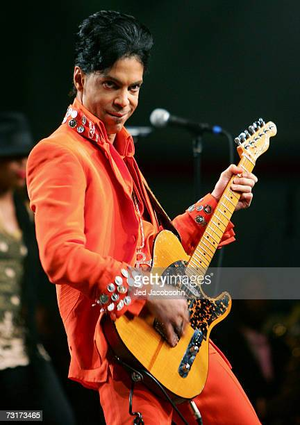 Prince performs during the Super Bowl XLI Halftime Press Conference at the Miami Beach Convention Center on February 1 2007 in Miami Florida