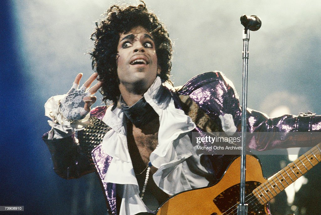 Prince performs in concert circa 1985 in Los Angeles, California.