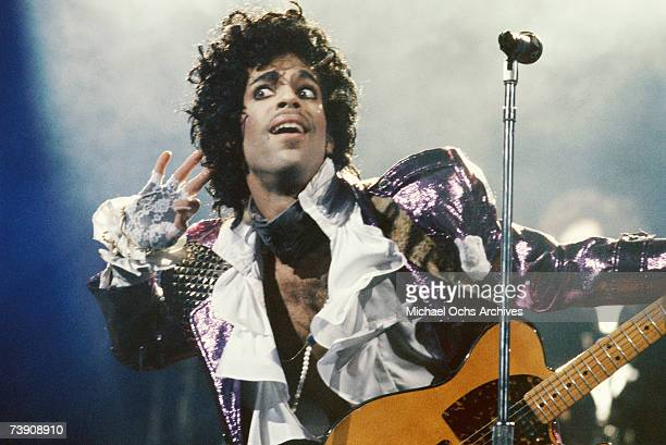 Prince performs in concert circa 1985 in Los Angeles California
