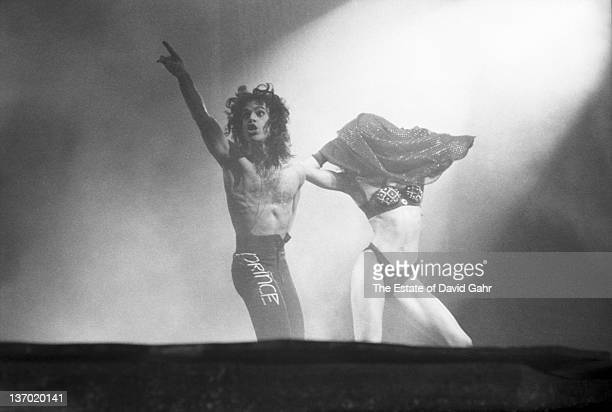 Prince performs live at Madison Square Garden with dancer and singer Cat on October 2 1988 in New York City New York