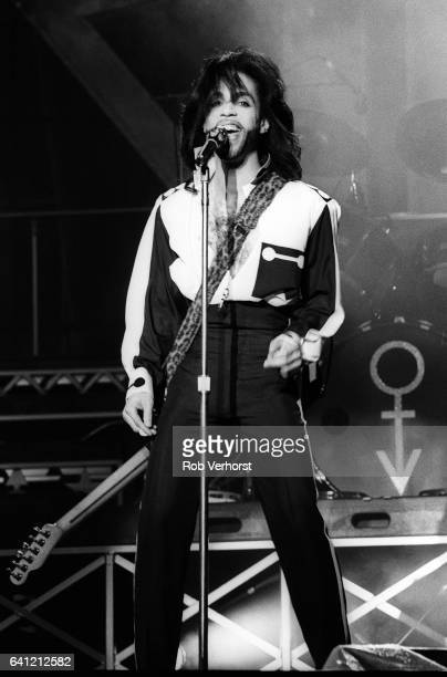 Prince performs on stage at Feyenoord Stadion De Kuip Rotterdam Netherlands on his Nude Tour 2nd June 1990