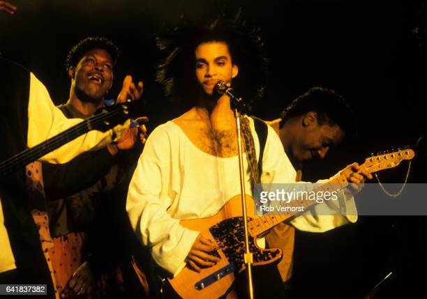 Prince performs on stage at Feyenoord Stadion De Kuip Rotterdam Netherlands on the Nude Tour 3rd June 1990
