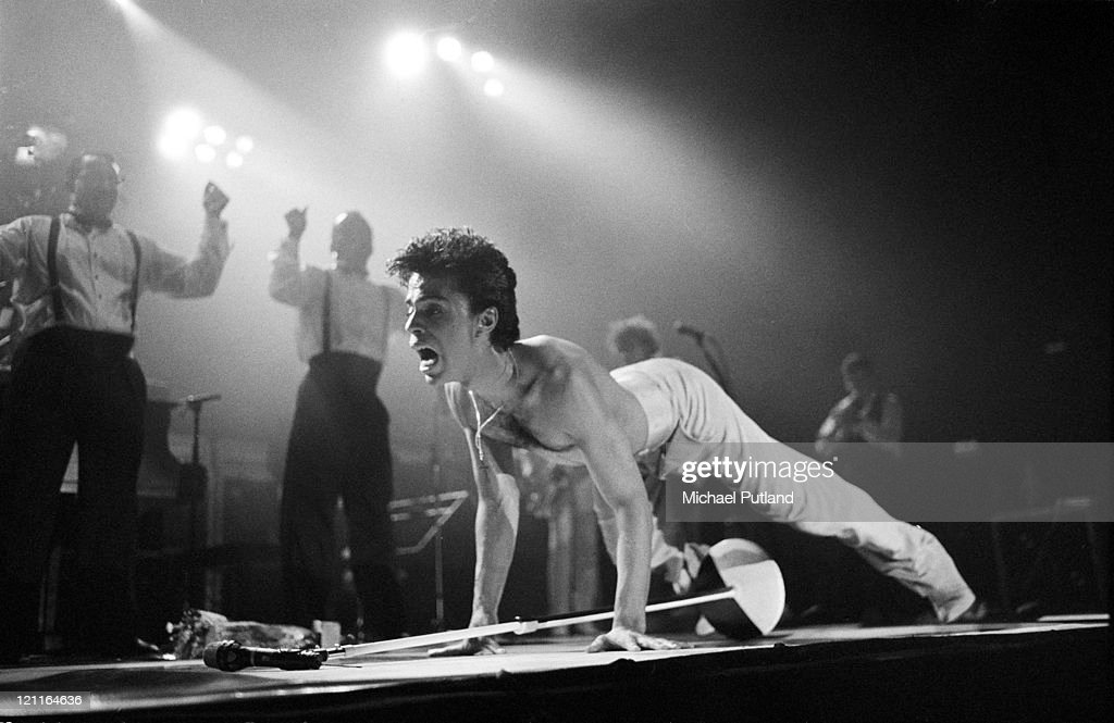 Prince performs on stage on the Hit N Run-Parade Tour, Wembley Arena, London, August 1986.