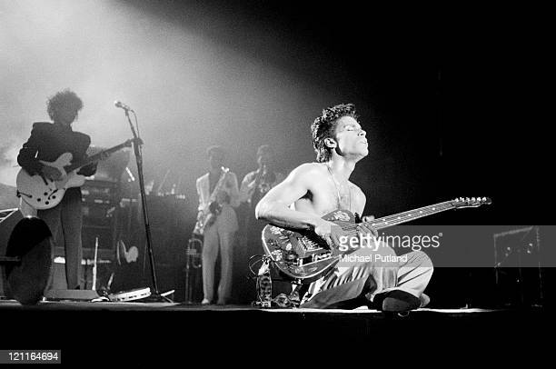 Prince performs on stage on the Hit N RunParade Tour Wembley Arena London August 1986