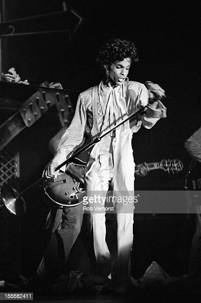 Prince performs on stage on the Sign 'O' The Times Tour, Isstadion, Stockholm, Sweden, 9th May 1987.