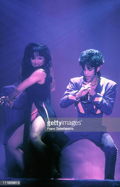 Prince performs on stage with Mayte Garcia on August 9 1993 in Den Bosch Netherlands