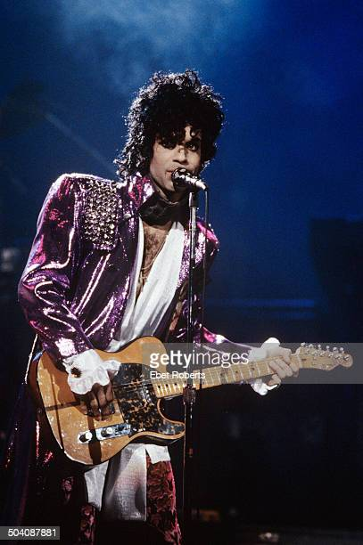 Prince performs on the Purple Rain tour at Joe Louis Arena in Detroit Michigan on November 8 1984