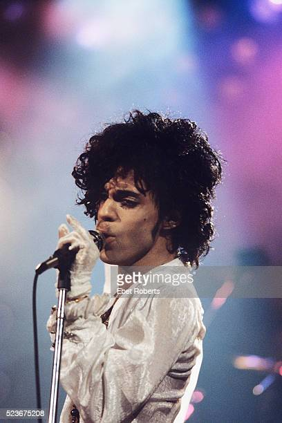 Prince performs on the Purple Rain tour at the Spectrum in Philadelphia Pennsylvania on November 24 1984