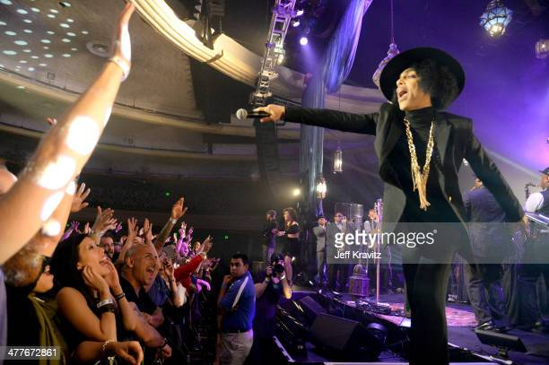 Prince performs onstage at The Hollywood Palladium on March 7, 2014 in Los Angeles, California.
