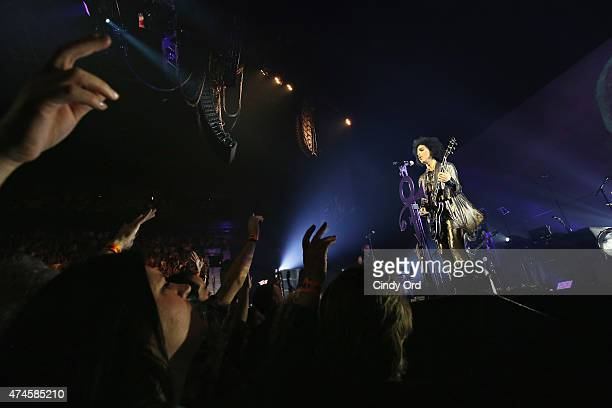 Prince performs onstage during his 'HitnRun' tour at Bell Centre on May 23 2015 in Montreal Canada