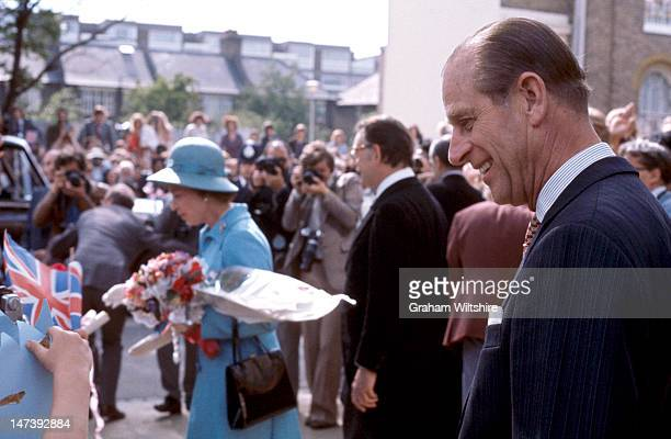HRH Prince Philip accompanies HM The Queen Camberwell Silver Jubilee walkabout